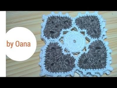 4 hearts crochet square