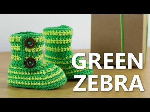 Crochet Baby Booties Green Zebra