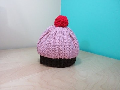 Crochet cupcake adult hat - with Ruby Stedman