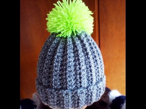 Crochet easy ribbed pom pom Hat