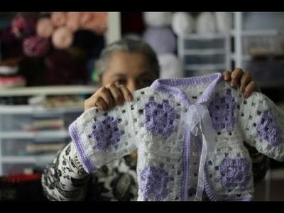 #Crochet Granny Square Baby Sweater