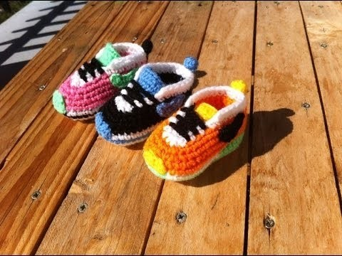Crochet Tutorial - Easy Crochet Baby Sneakers - Shoes Crochet