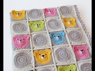 Crochet Tutorial - How to crochet Teddy Bear Granny Square Blanket - Afghan.Throw Crochet