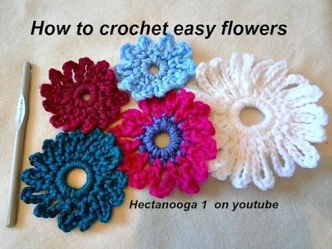 How to crochet an EASY CROCHET FLOWER,  6 chain flower, crochet pattern