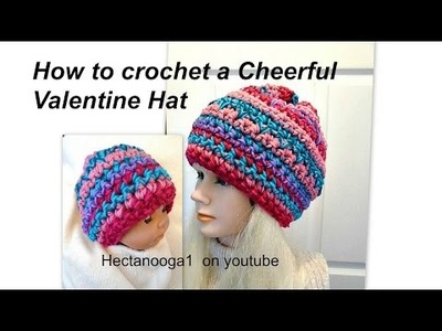 How to crochet an easy valentine hat, crochet for beginners, free crochet pattern