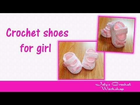 How to crochet shoes for baby girl with buttons -  Part 2