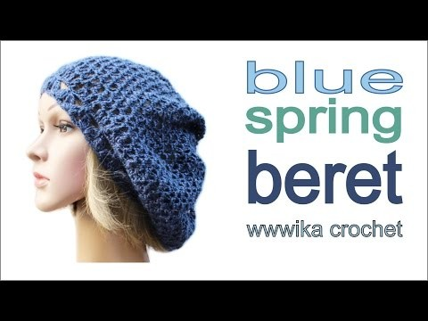How to crochet spring beret hat free pattern tutorial by wwwika.