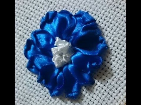 How to make a satin ribbon rose for ribbon embroidery projects - Tutorial .