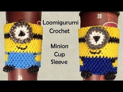 New Loomigurumi. Amigurumi Minion Coffee Cup Cozy Sleeve - Rubber Band Crochet - Rainbow Loom