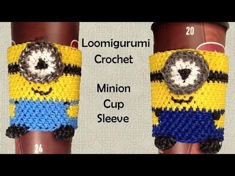 New Loomigurumi. Amigurumi Minion Coffee Cup Cozy Sleeve - Rubber Band Crochet - Rainbow Loom