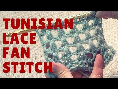 Tunisian Lace Fan  Stitch - Free Crochet Pattern