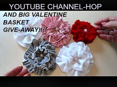 VALENTINE YOUTUBE HOP, Big Basket giveaway, How to make a Ruffled fabric flower