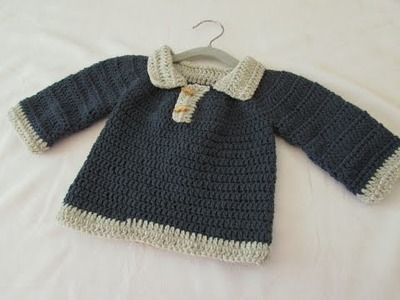 VERY EASY crochet little boy's sweater. jumper. pullover tutorial