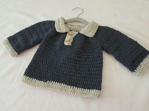 VERY EASY crochet little boy's sweater. jumper. pullover tutorial