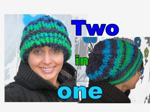 Ann s two in one hat ! How to chrochet a hat and a beanie in one  (English Version)