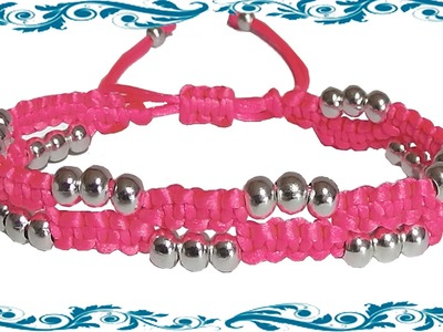 How to make a bracelet with beads double macrame knots adjustable witn nylon string or rattail cord