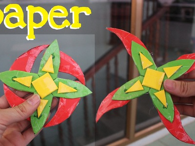How to Make a Paper Shuriken 4 branches (Ninja  Star 4)