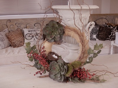 How to make a Succulent, Berry and Willow Christmas Wreath