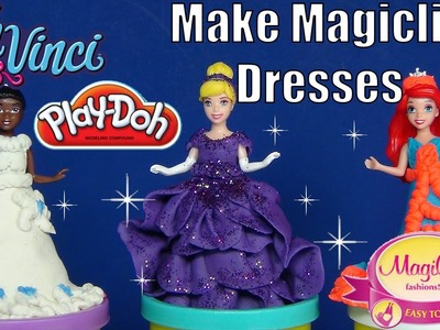 How To Make Disney Princess Magiclip Dresses DohVinci, Play-Doh, Glitter, Tiana, Cinderella, Ariel