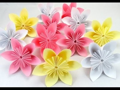 How to make origami flowers -  Easy origami flower (kusudama flower)