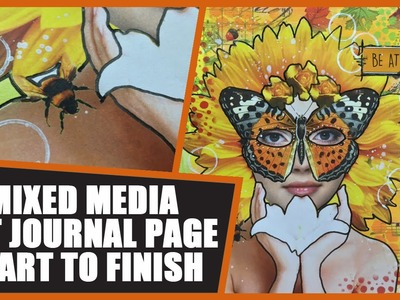 How to: Mixed Media Collage Art Journal Page - One with Nature