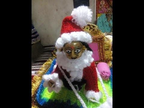 Part 4 - Santa cap - How to make Santa dress for bal gopal - crochet winter christmas dress
