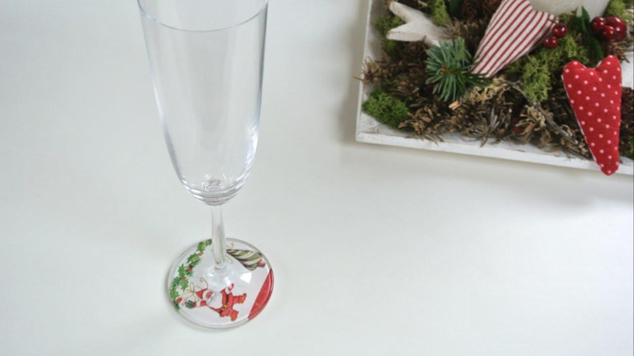 Adornos navideños - Como decorar copas | Christmas Ornaments - How to decorate wine glasses