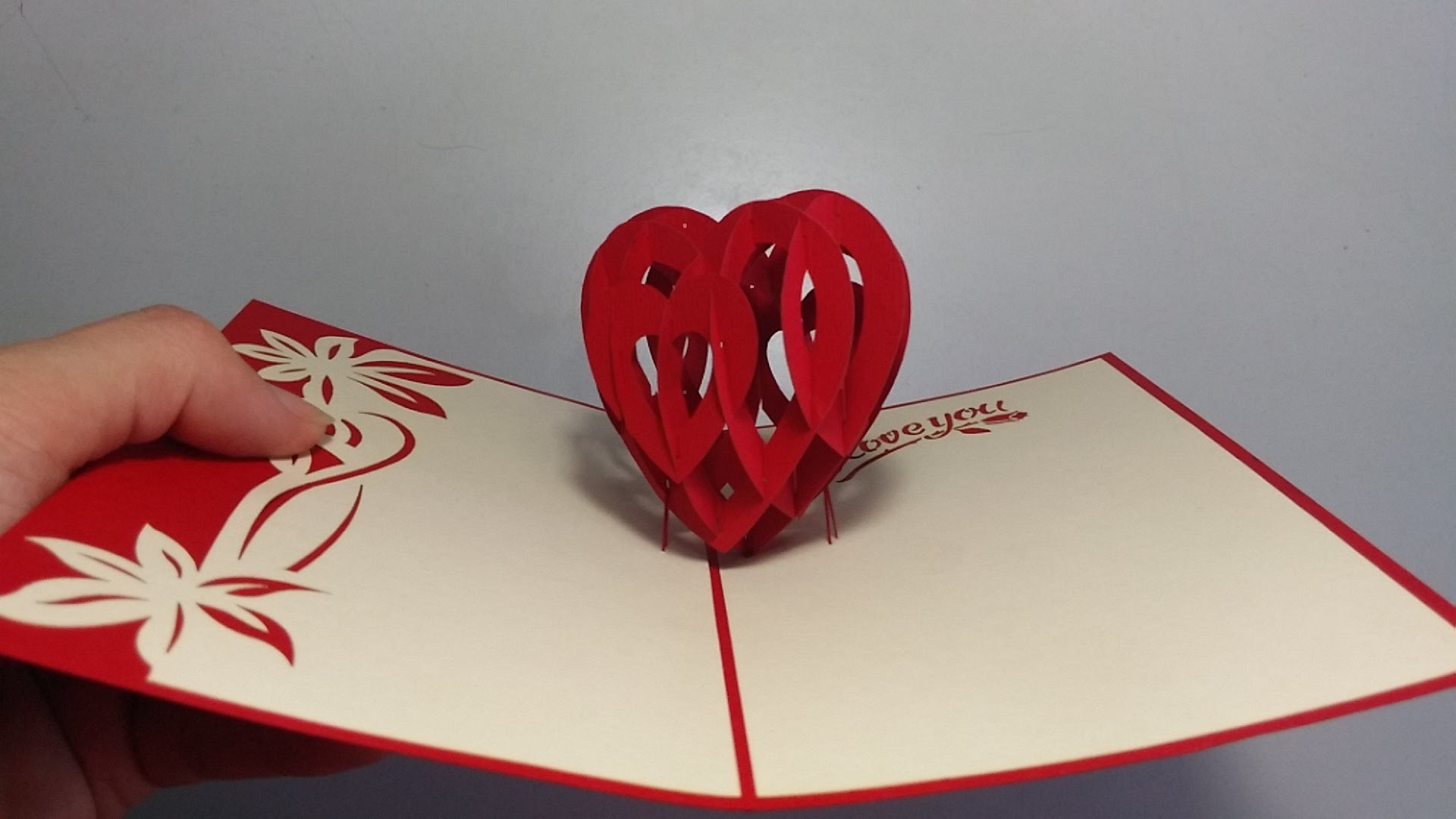 How to make 3D Heart Valentine Day Pop up Card - AOC Craft