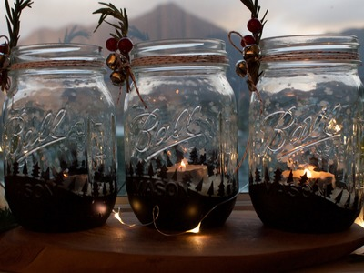 How to make a Winter-themed mason jar candle holder
