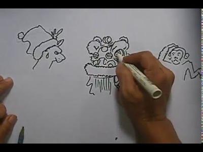 Lion Dance Drawing 13 How to make Season's Greeting card