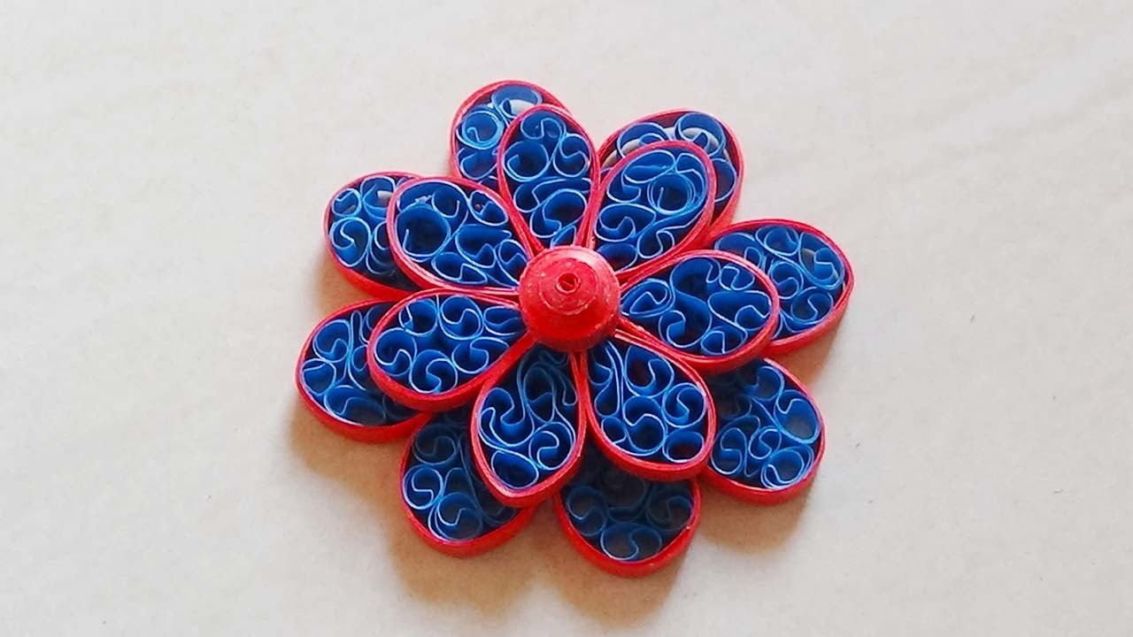 Paper Quilling: How to make Beautiful 3d Quilling blue and red Flower design