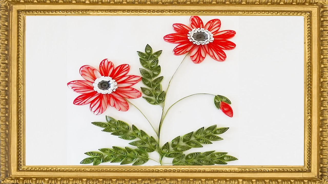 #PaperQuilling :New : Art & Craft How to make Beautiful Quilling red Flower design
