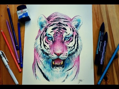 Bubblegum Tiger - Speedpainting - Sped Up Winsor and Newton Marker Art - How to paint a pink tiger