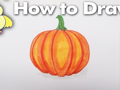 How to Draw an Easy Cartoon Pumpkin Gourd - Step by Step