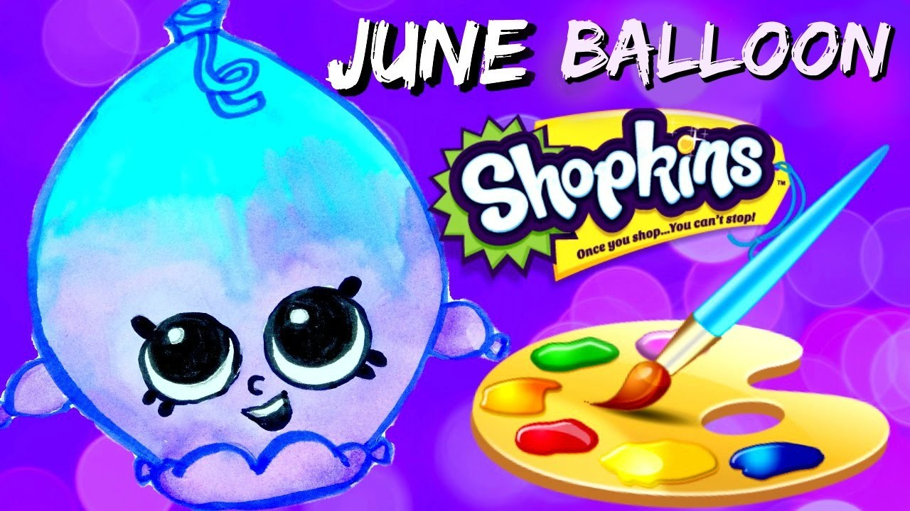 HOW TO: Draw and Color JUNE BALLOON Shopkins EASY! Plus SPK Fashion Spree Basket Opening