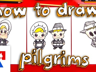 How To Draw Cartoon Pilgrims (Boy & Girl)