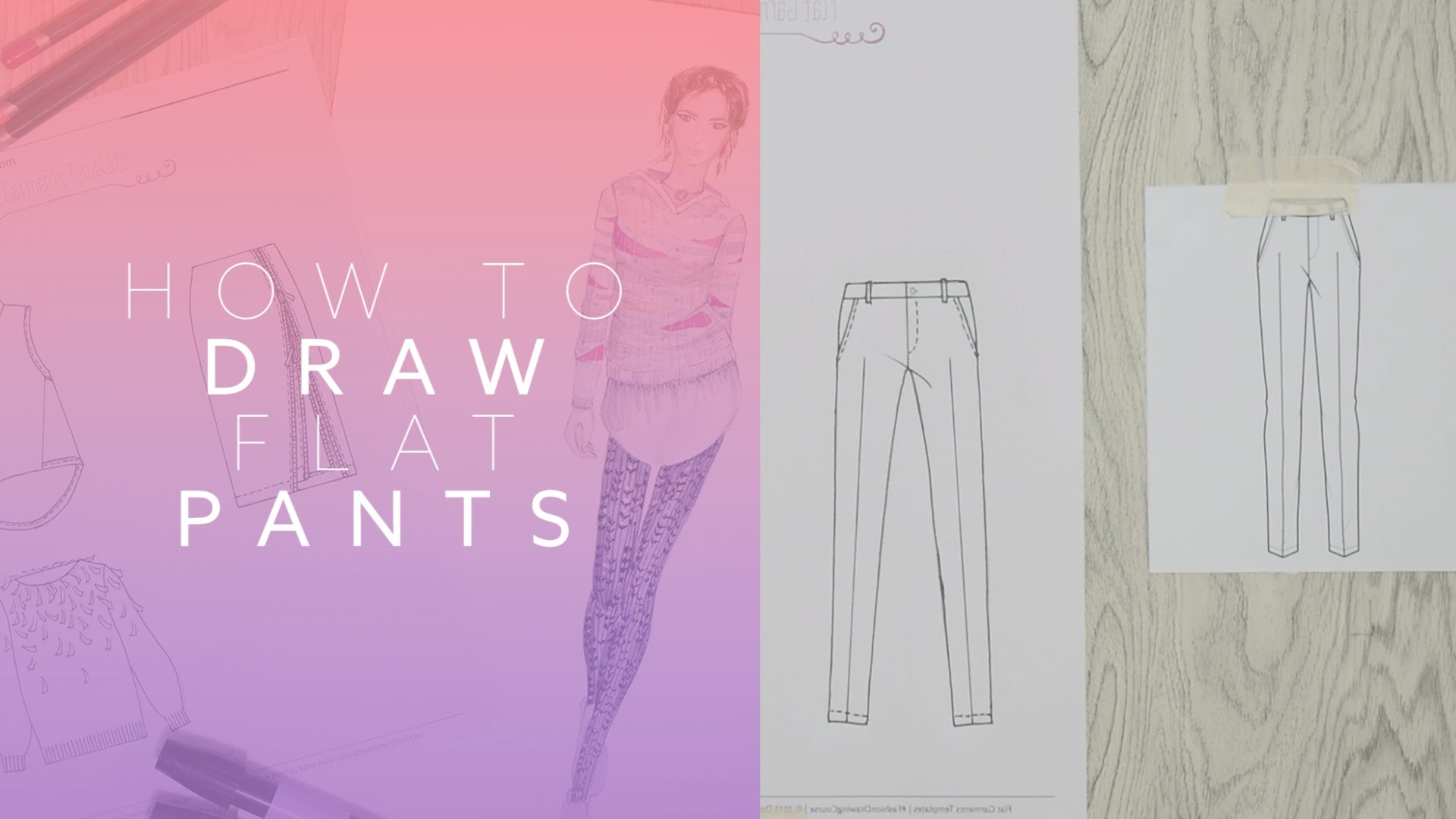 How to Draw Flat Pants for Fashion Design, Fashion Illustration, and Fashion Drawing