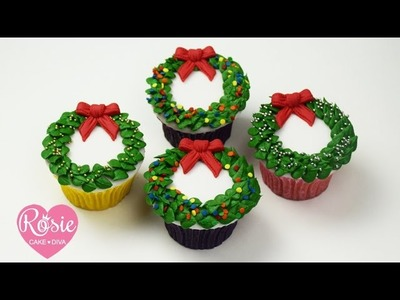 How to make a BUTTERCREAM CHRISTMAS WREATH CUPCAKE