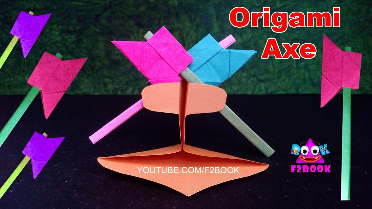 How to Make a Paper Battle Axe || Easy Tutorials F2BOOK Video 93