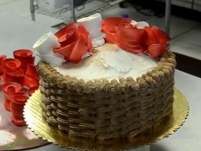 How to make basket theme cake with red roses