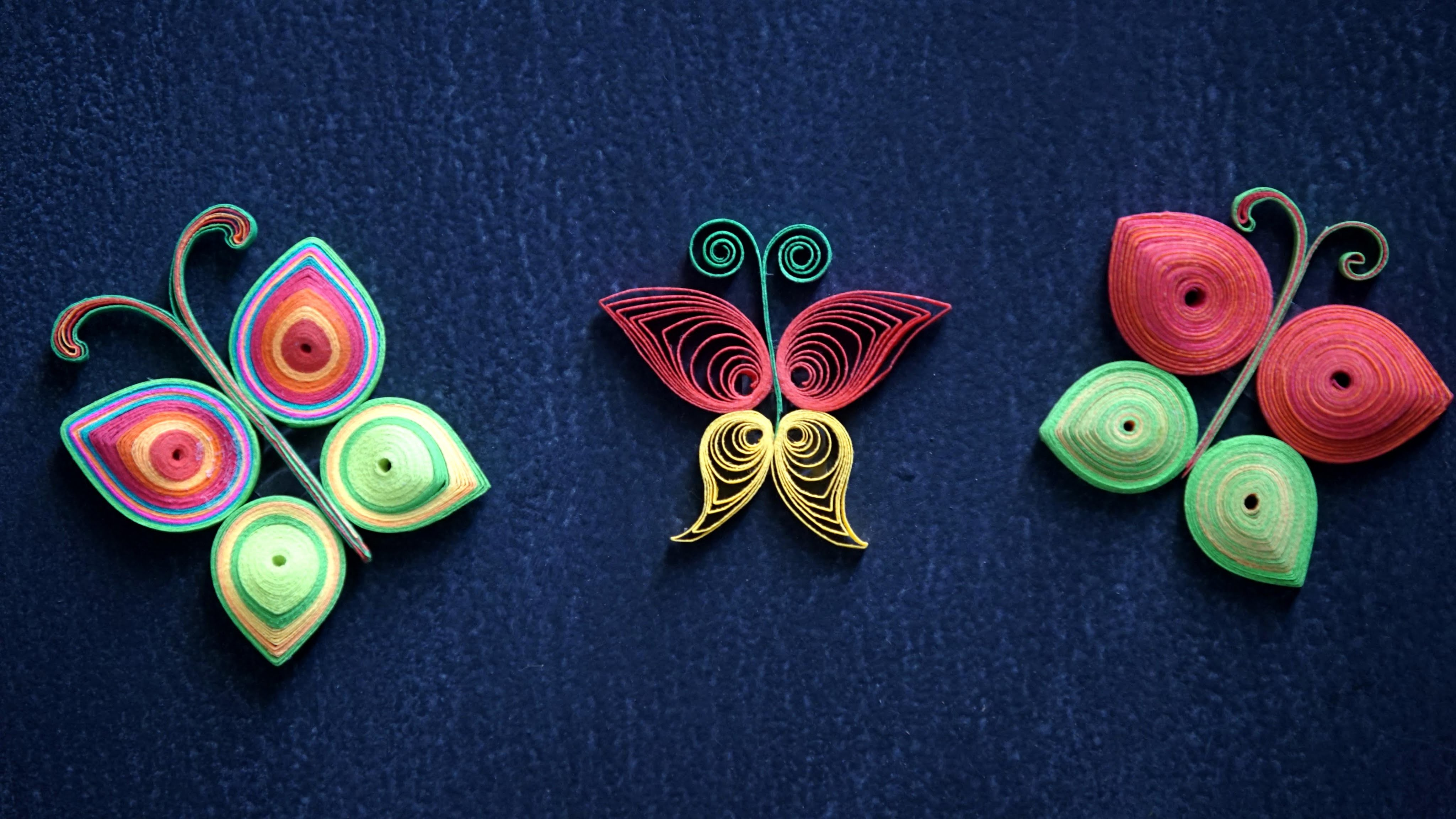 How To Make Beautiful Butterflies Using Paper Art Quilling - Decorate Your Room!