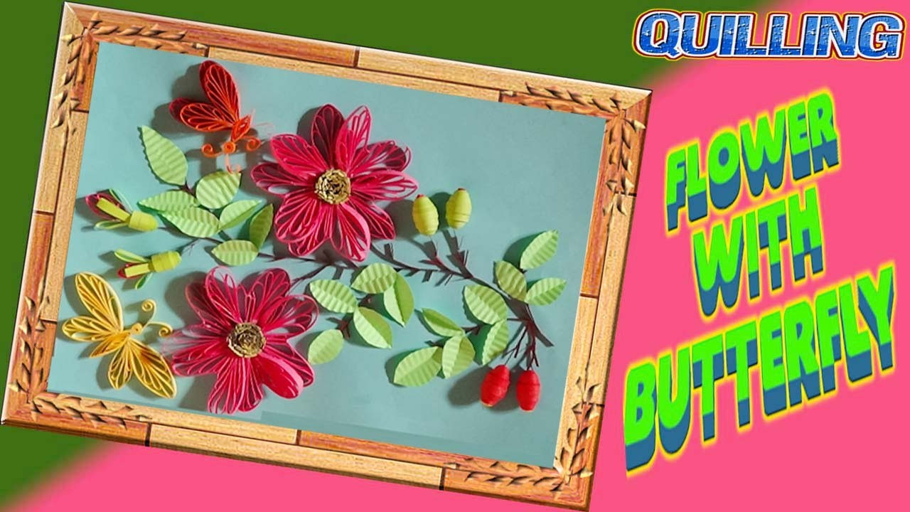 Paper Quilling;  How to make Beautiful  dark pink Flower with butterfly using Paper -Quilling Card