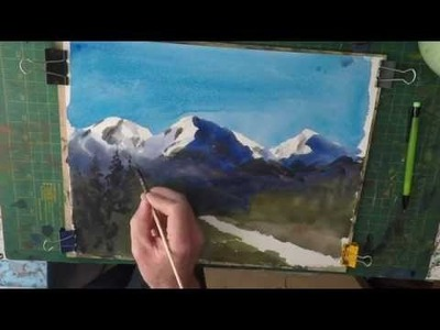 Beginners Watercolour How to paint snow capped mountains simply