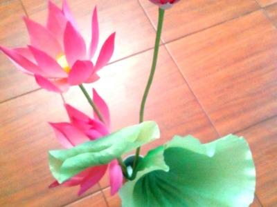 Hoa sen giay nhun   How to make a Paper Lotus & Leaf Part  II