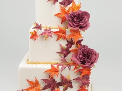 How to Create an Autumn  Flower Paste Maple Leaf Cake