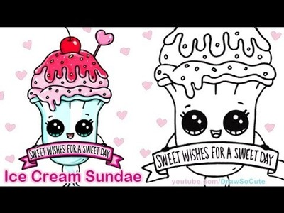 How to Draw an Ice Cream Sundae Float Cute step by step Sweet Dessert