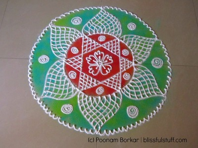 How to draw beautiful flower shaped rangoli design | Poonam Borkar Rangoli Designs
