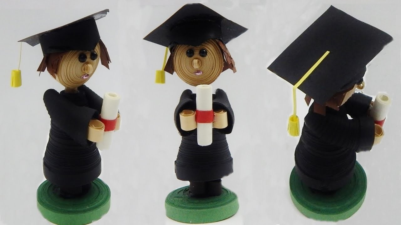 How to make a 3D quilling graduation boy with diploma  quilling doll DIY (tutorial + free pattern)