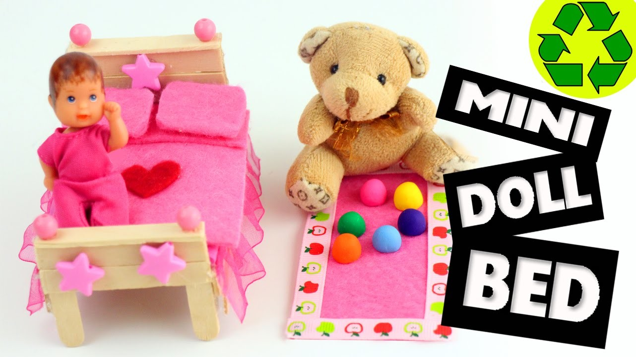 How to Make a Mini Bed for LPS, Lalaloopsy and Barbie Babies - Easy Doll Crafts