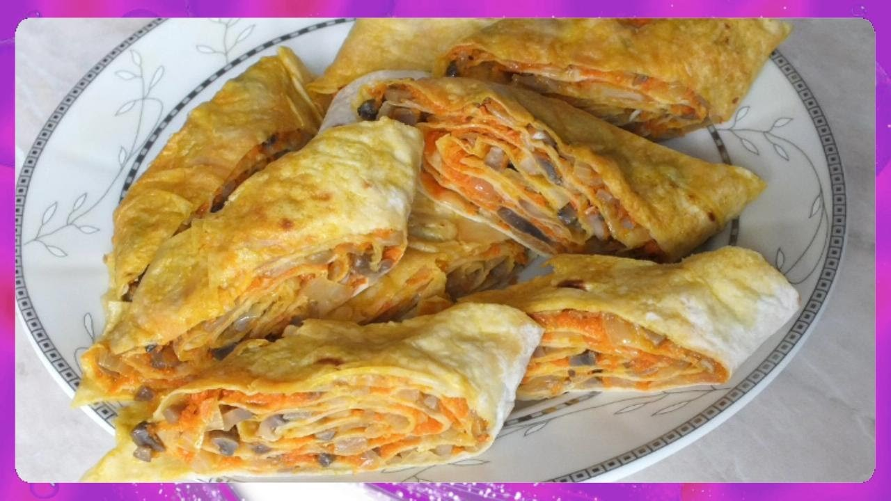 How to make pita bread with fried mushrooms and carrots and onions